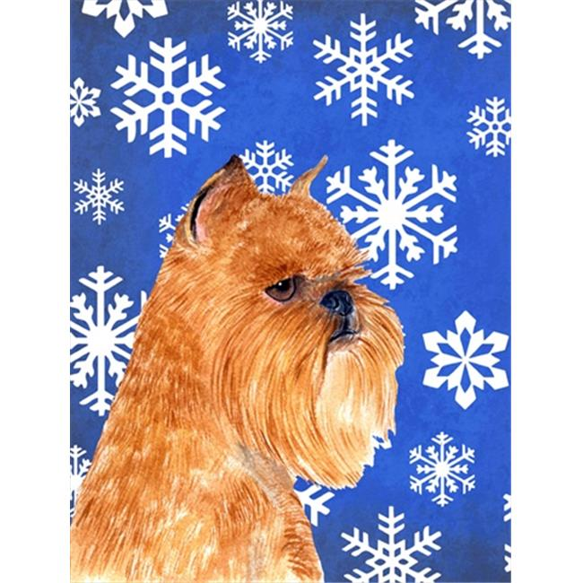 11 x 15 in. Brussels Griffon Winter Snowflakes Holiday Flag Garden Size - image 1 of 1