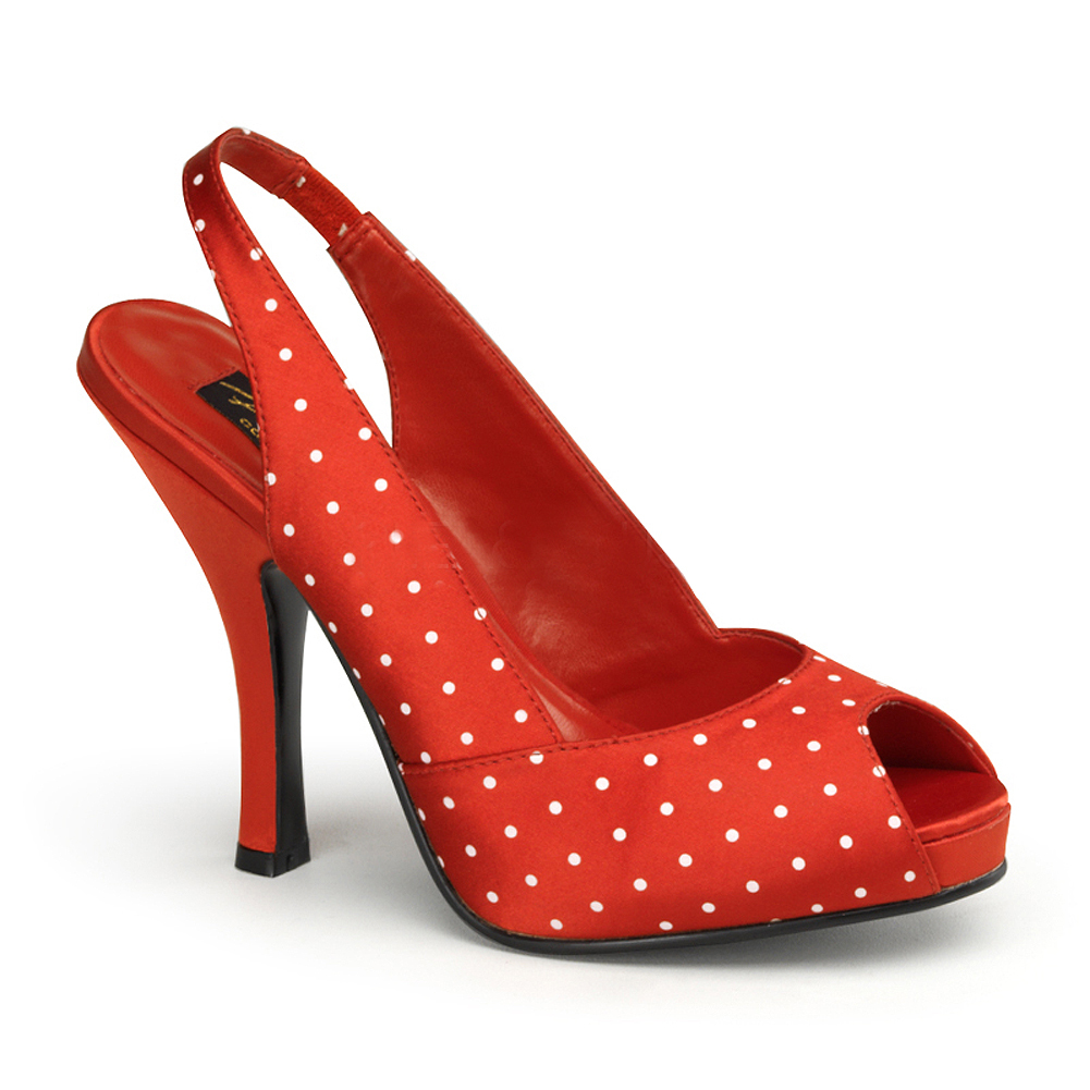 Womens Polka Dot Pumps Slingback Shoes Black or Red 4 1/2 Inch Heel Peep Toe