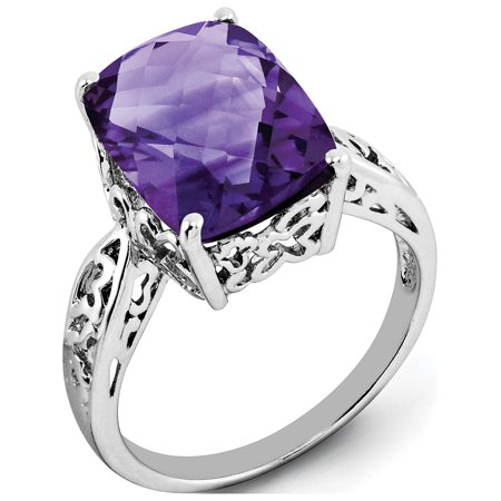 Sterling Silver Rhodium-plated Checker-Cut Amethyst Ring - image 1 de 2