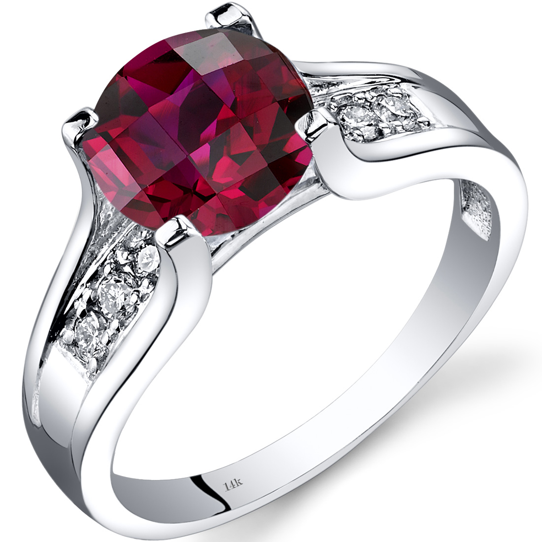Peora 2.5 Carat T.G.W. Round-Cut Created Ruby and Diamond Accent 14kt White Gold Ring Size 7