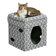 """MidWest 2-Story Cat Cube, Brown Suede, 17"""""""