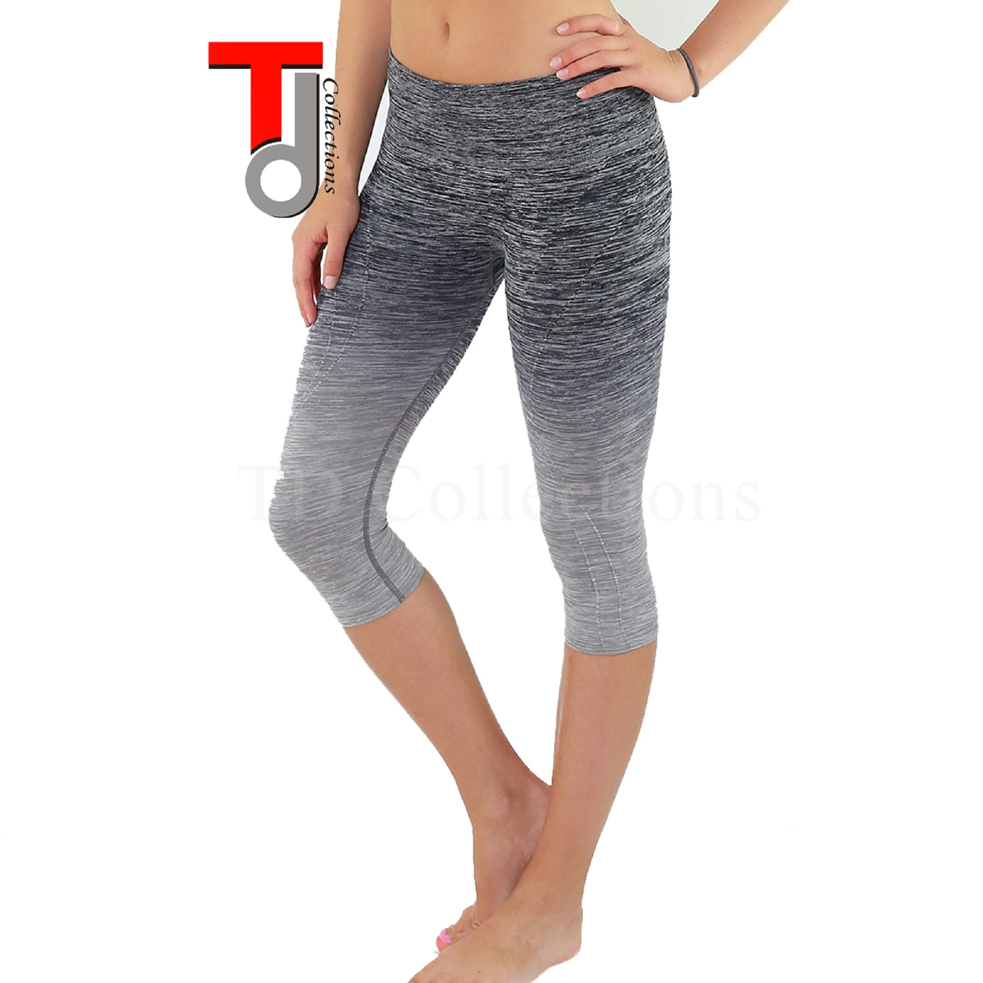 TD Collections Three-quarter Tights Capri Yoga Sport Workout Leggings Pants
