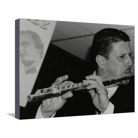 City Flute (Benn Clatworthy Playing the Flute at the Fairway, Welwyn Garden City, Hertfordshire, 2002 Stretched Canvas Print Wall Art By Denis Williams )