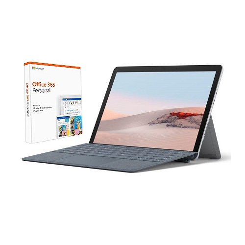 "Microsoft Surface Go 2 10.5"" Intel Pentium Gold 8GB RAM 128GB SSD Platinum + Surface Go Signature Type Cover Ice Blue + Office 365 Personal 1 Year"