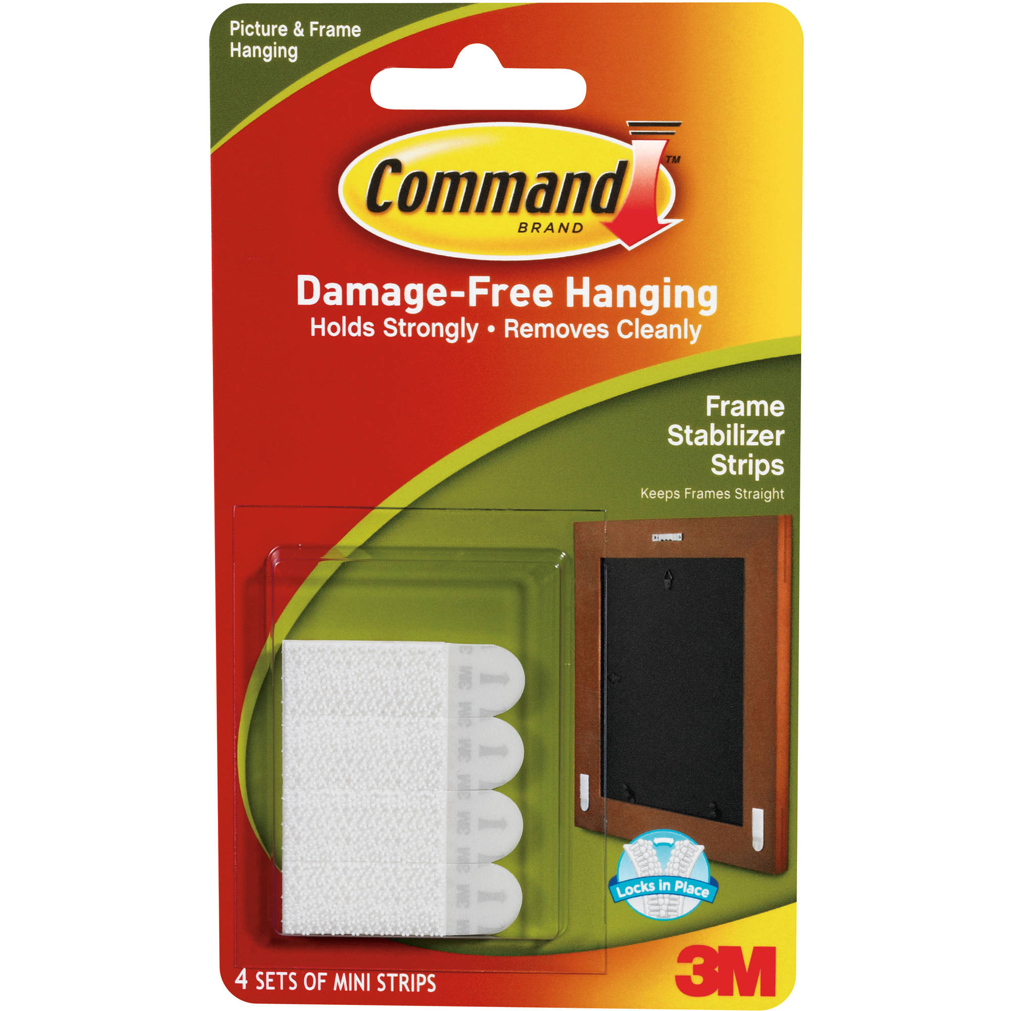Command Frame Stabilizer Strips, White, 4 Sets of Strips/Pack