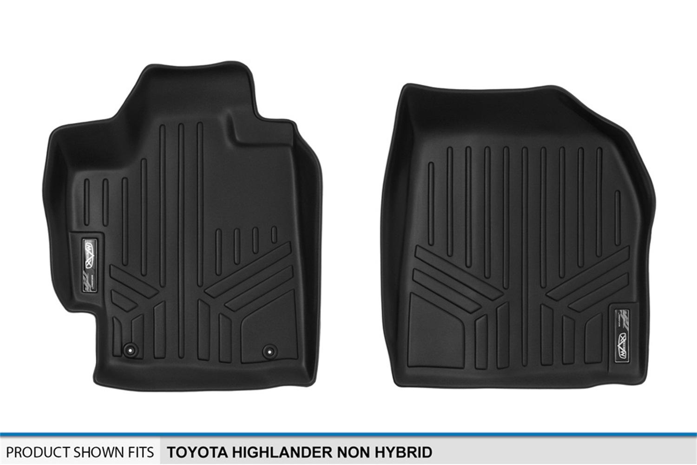 SMARTLINER Floor Mats 2 Rows and Cargo Liner Set Black for 2008-2013 Toyota Highlander Non Hybrid