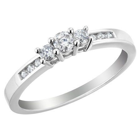 Diamond Engagement Ring and Three Stone Anniversary Ring 1/4 Carat (ctw H-I , I1-I2) in 14K White Gold - image 2 de 2