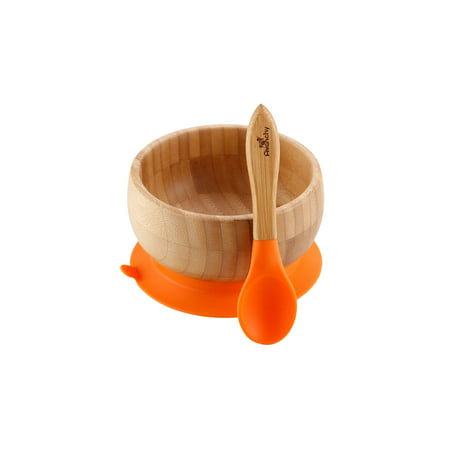 Avanchy Bamboo Stay Put Suction Baby Bowl Spoon Orange