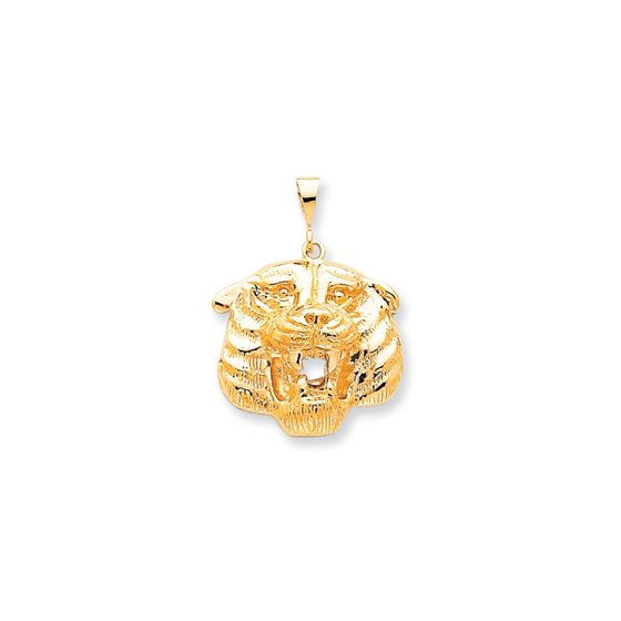 IceCarats - 10k Yellow Gold Solid Tigers Head Pendant Charm Necklace ... b62470318d