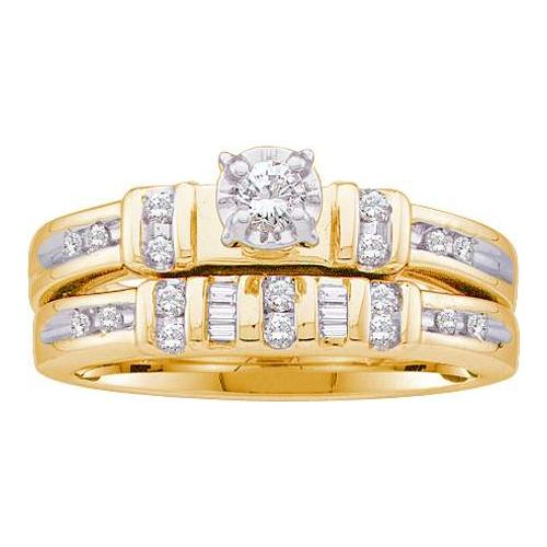 0.28Ctw Diamond Round Center Bridal Set Womens Fixed Ring Size - 7