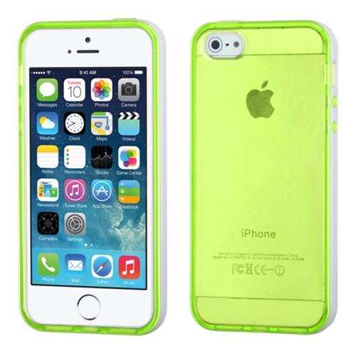 Insten Solid White Belly/Transparent Apple Green Glossy Candy Skin Case Cover For iPhone 5 5s
