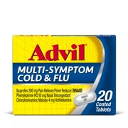 Advil Cold and Flu Pain Medicine and Fever Reducer Coated Tablets, 20 Count