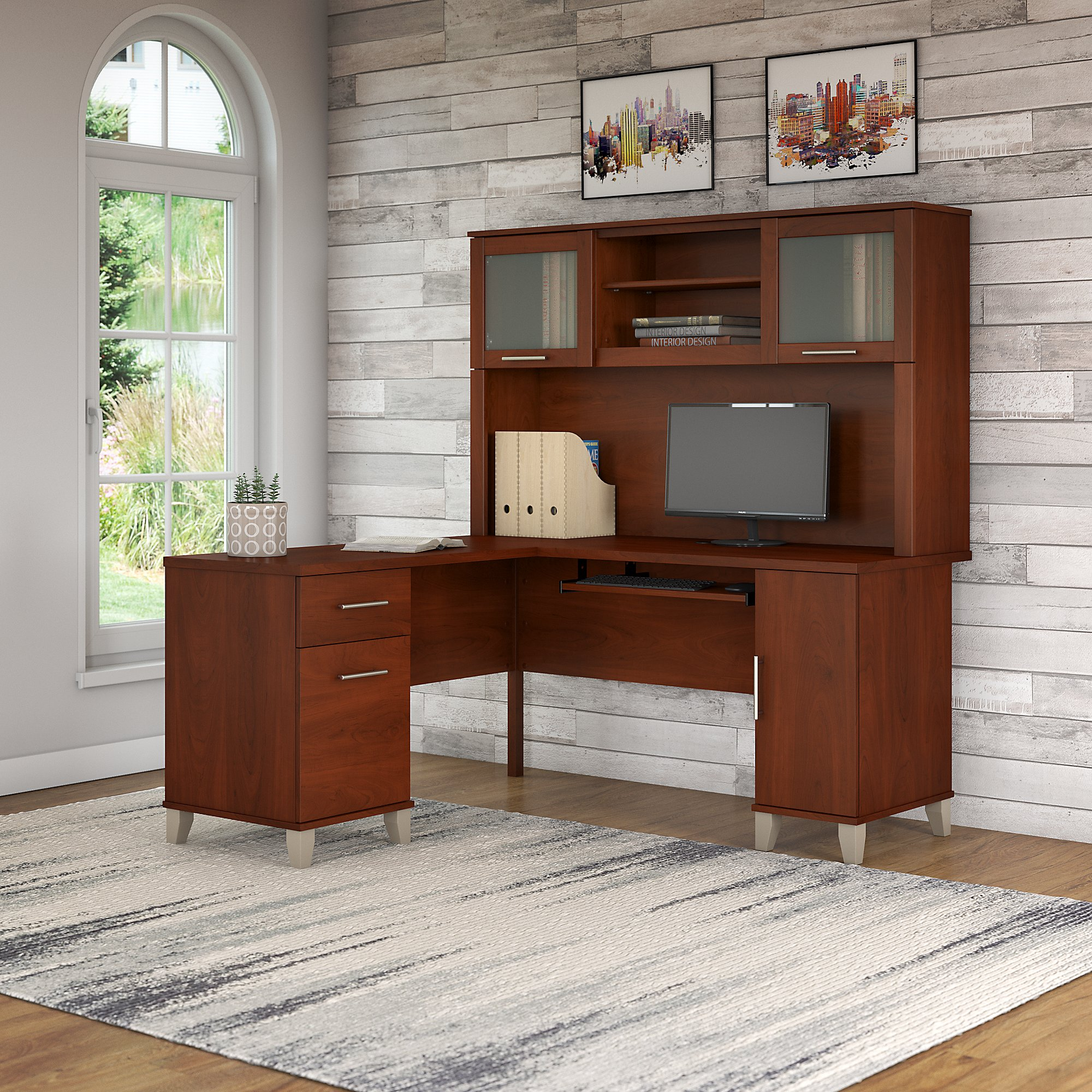 Bush Furniture Somerset 60w L Shaped Desk With Hutch In