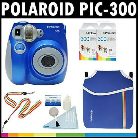 Polaroid PIC-300 Instant Film Analog Camera (Blue) with (2) Polaroid 300 Instant Film Packs of 10 + Polaroid Neoprene Po (Polaroid Camera With Film Pack)