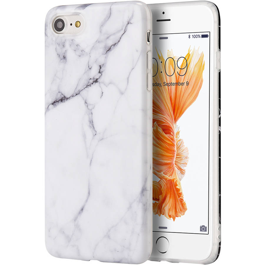 MUNDAZE Marble Jelly Skin Case for Apple iPhone 7 8 Plus, White