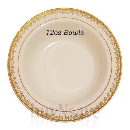 Cream With Gold Heavyweight Plastic Elegant Disposable Plates Wedding Party Dinnerware Prestige Collection