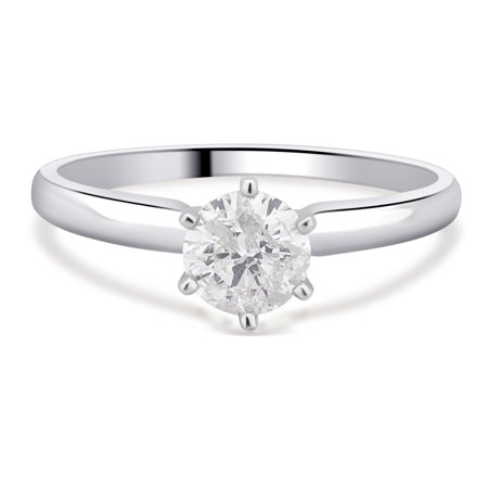 3/8 Carat Round Diamond Solitaire - 3/8 Carat T.W. Round Diamond 14K White Gold Solitaire Engagement Ring