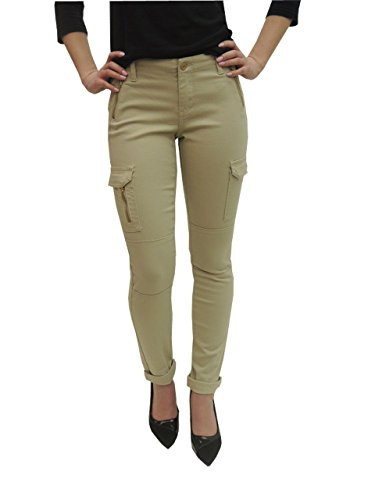 P26 Womens Elite Jeans Skinny Cargo Pant With Zipper Jeans (15, Khaki P26-P18791-03)