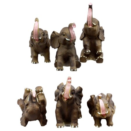 Ebros Gift African Savanna Whimsical Cute Baby Elephant Calves Set of 6 Figurines 3.5