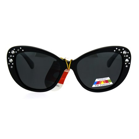 Antiglare Polarized Rhinestone Bling Thick Plastic Cat Eye Diva Sunglasses All (Cats 5000 Polarized)
