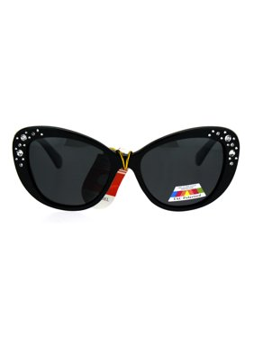 cbba0420e03a Product Image Antiglare Polarized Rhinestone Bling Thick Plastic Cat Eye  Diva Sunglasses All Black