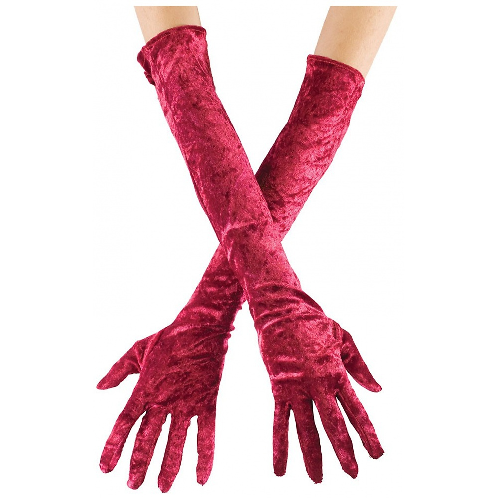 Long Velvet Gloves Adult Clothing Burgundy