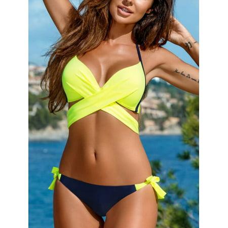 7b3c7035e5 A Blue Man Fluorescent Green Sexy Hot Halter Bathing Suit Bikini Top for  Women, Two Piece Bandage Push-Up Padded Bikini Swimsuits for Women, A2876GL  Bikini ...