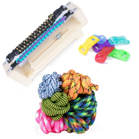 West Coast Paracord Jig Bracelet Maker with 550 Paracord and Buckles - Weave Parachute Cords into Fun DIY Wristbands - Parachute Cord Bracelet Instructions