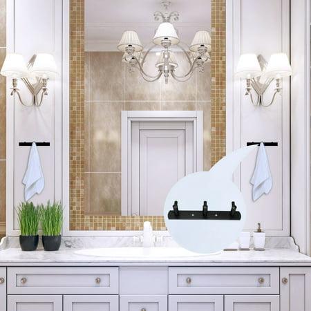 Stainless Steel Bathroom Hotel Towel Hanger Rack Holder Painting Black 3 Hooks - image 5 de 7