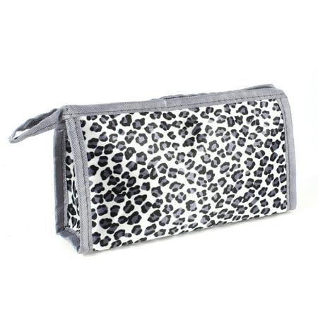 Unique Bargains Leopard Print Zip Closure Cosmetic Makeup Bag Pouch w Hand Strap White Black (Leopard Print Halloween Makeup Tutorial)