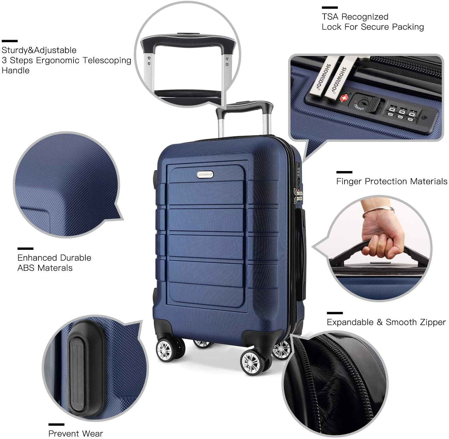 SHOWKOO Luggage Side Stand Feet Replacement Accessories Feet Pad with Screws 007