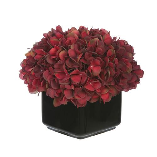 House of Silk Flowers Inc. Artificial Hydrangea in Small Black Cube Ceramic