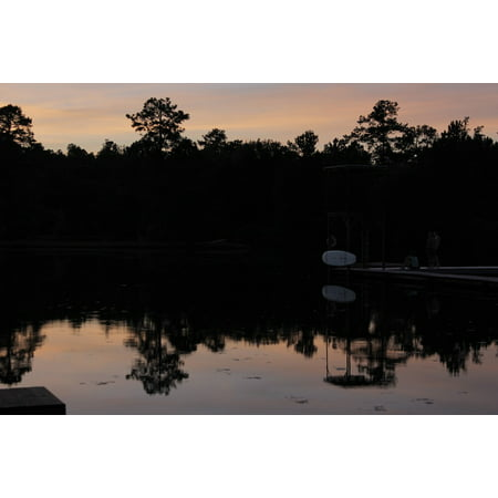 Sunset Dock - LAMINATED POSTER Reflection Trees Dock Sunset Beautiful Lake Poster Print 24 x 36