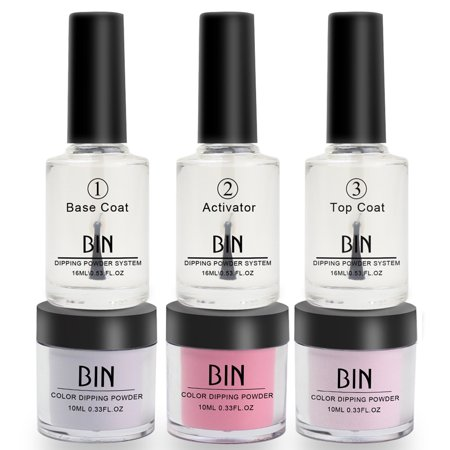 Iuhan Nails Dip Powder Set Acrylic Liquid Dipping System Without Lamp Cure Natural Dry ()