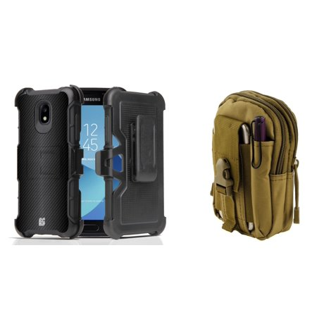 Rugged Case Holster Combo for Samsung Galaxy J3 Orbit (Dark Carbon) with Khaki Tactical Utility Pack and Atom Cloth for Samsung Galaxy J3 (Khaki Combo)