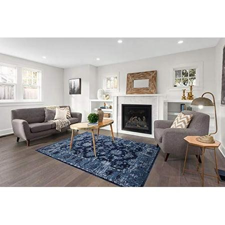 GAD Premium Indoor Contemporary Modern Low Pile Area Rug, Blue, Living Room  Rug - Hallway - College Dorm, High Traffic Inside Rug - Stain & Fade ...