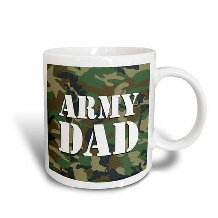 3dRose Army Dad Green Camouflage, Ceramic Mug, 11-ounce