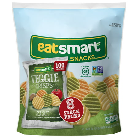 Eatsmart Snacks Veggie Crisps, Sea Salt 100 Calorie Multipack, 8 -
