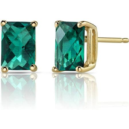1.75 Carat T.G.W. Radiant-Cut Created Emerald 14kt Yellow Gold Stud Earrings