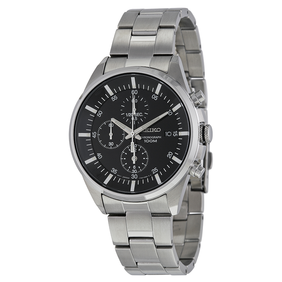 Seiko Black Dial Chronograph Stainless Steel Mens Watch SNDC81