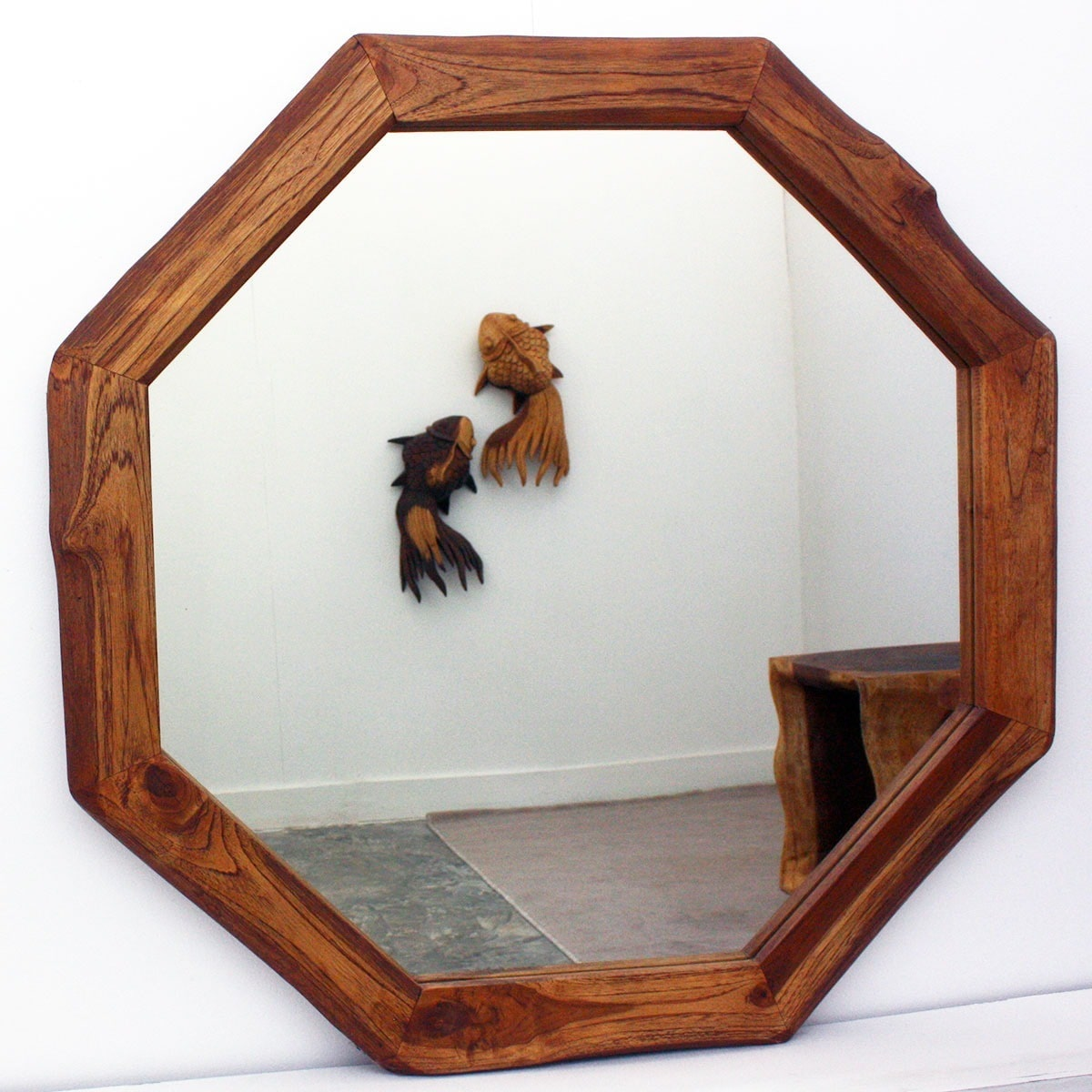 Haussmann Handcrafted 34-inch Teak Octagon and DIA Oak Oil Mirror  , Handmade in Thailand