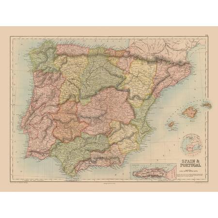 Map Of Spain Geography.International Map Spain Portugal Black S Atlas 1867 30 25 X 23
