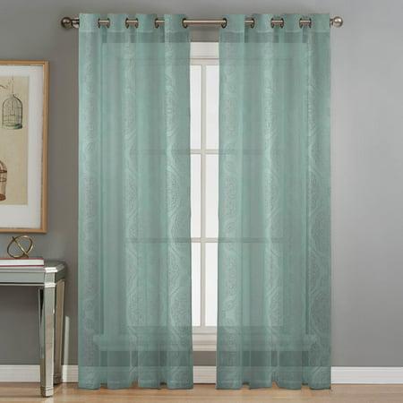 Diamante Burnout Sheer 76 x 84 in. Grommet Curtain Panel Pair