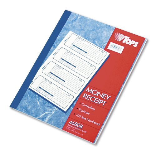 """Tops Manifold Receipt Book - 3 Part - Carbonless - 7.25"""" X 2.75"""" Sheet Size - Assorted - 1each (TOP46808)"""