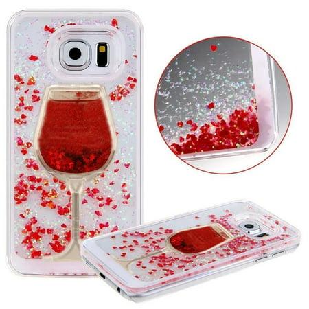 Galaxy S7 Edge, Galaxy S7 Edge Liquid Glitter Case, HJ Wireless [Wine Glass Quicksand] 3D Glitter Bling Hearts Flowing Liquid Heart Clear Hard Case for Samsung Galaxy S7 Edge(Heart Red) Heart Red