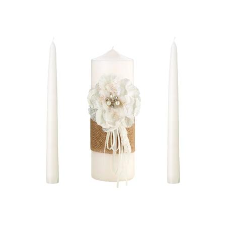 Burlap and Lace Unity Candle Set