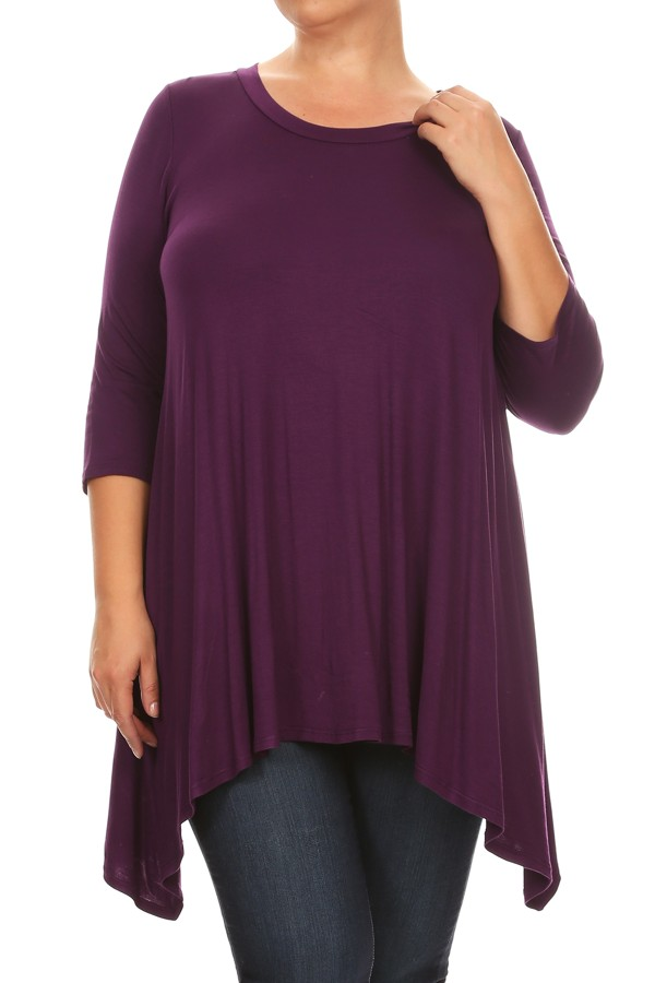 Women's PLUS 3/4 sleeves solid  tunic top.