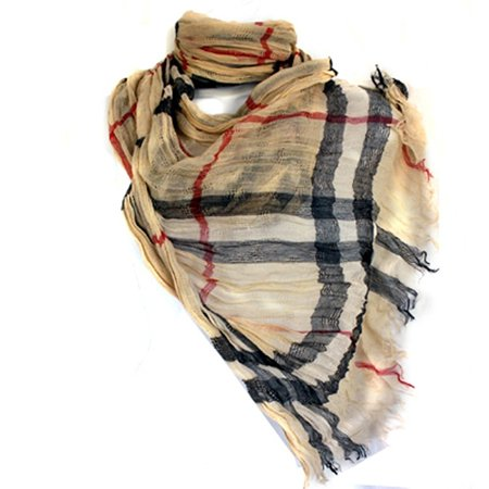 Style Long Scarf - Long Preppy Style Checkerboard Plaid Print Soft Light Cotton Blend Scarf By Silver Fever Brand (Tan Brown)