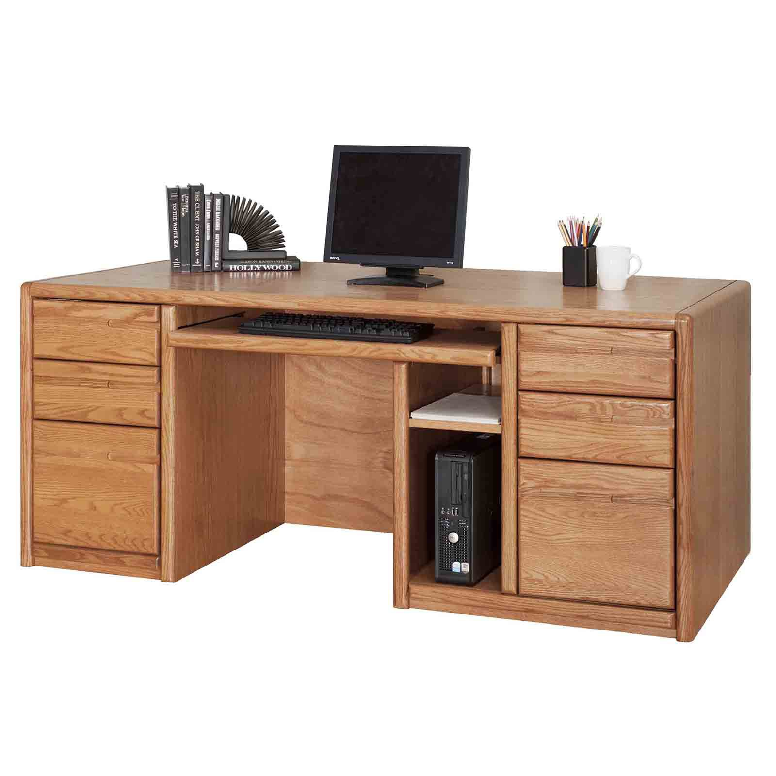 Martin Home Furnishings 00685 Contemporary Double Pedestal Computer ...