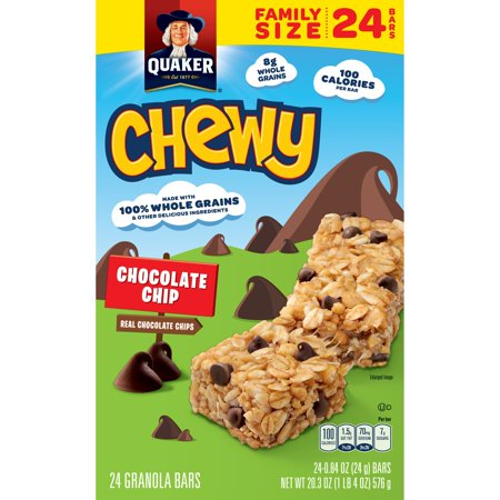 Quaker Chewy Granola Bars, Chocolate Chip, 0.84 oz, 24 ct ...